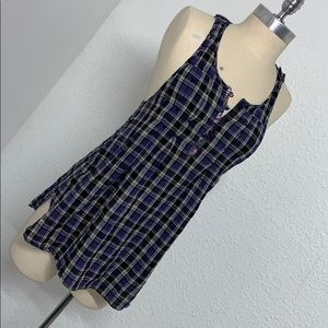 Free People plaid and lace navy tank top
